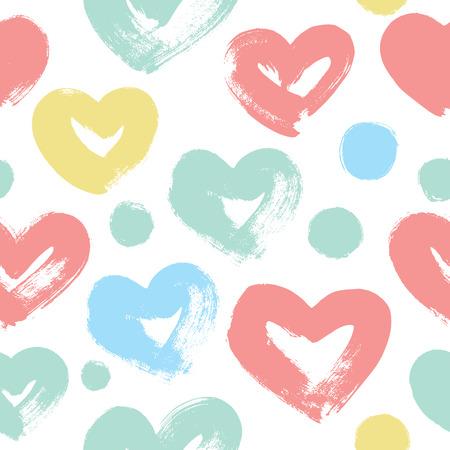 Cuori divertenti. Disegnato a mano. Vettore di Seamless pattern per il tuo design. Ottimo per bambino, San Valentino, festa della mamma, matrimonio, album, trame di superficie.