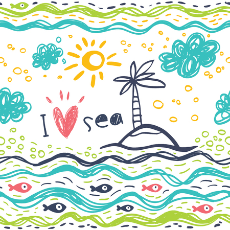 I love the sea. Seamless pattern in the concept of childrens drawings. Seamless pattern with fish, sun, palm, clouds, sea and waves.
