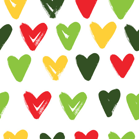 Seamless pattern with hearts. Expressive dry brushes.