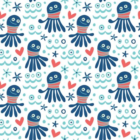 Cartoon octopuses seamless pattern in blue tones. Vector texture in childish style great for fabric and textile, wallpapers, backgrounds, cards design.