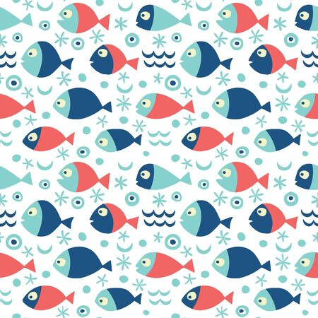 Vector pattern with fishes in blue and red colors. 向量圖像