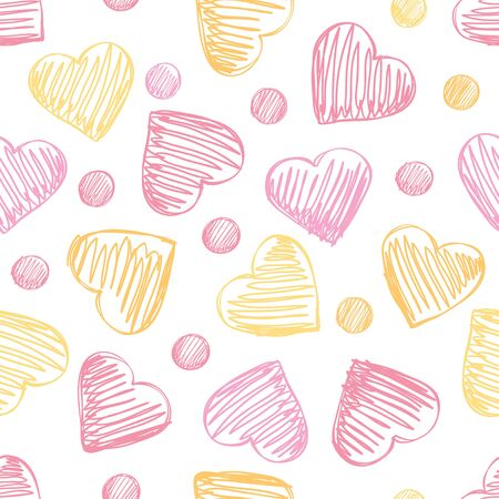 Seamless pattern with hearts in pink and yellow tones.