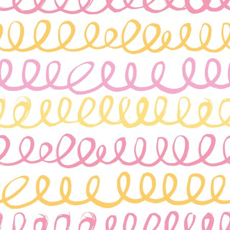 Seamless pattern with abstract waves in pink and yellow tones.