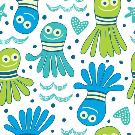 Vector background with octopuses in cartoon style. Great for children's textiles, wallpapers, surfaces.