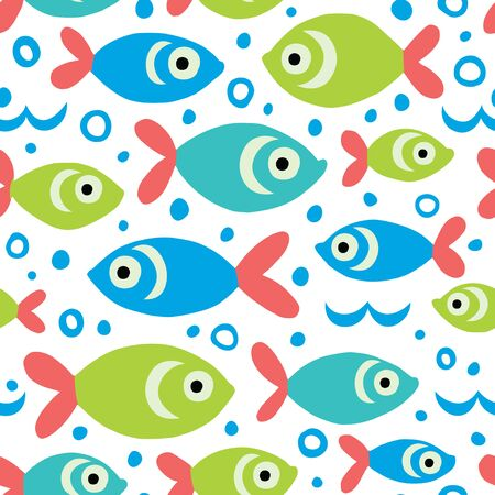 Vector background with cute fishes. Great for children's textiles, wallpapers, surfaces.