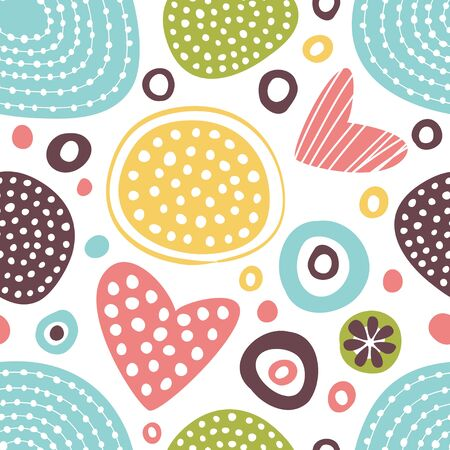 Vector background with abstract ornament and hearts.