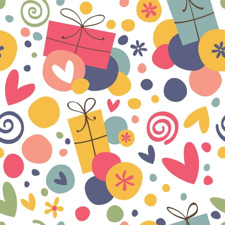 Seamless pattern with gifts and hearts.