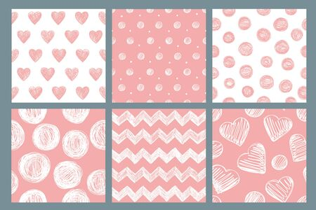 Set of six seamless patterns with hand drawn abstract elements. Vector backgrounds in pink and yellow tones. 向量圖像
