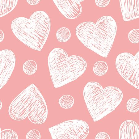 Seamless pattern with hearts on a pink background.