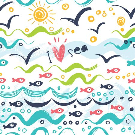 I love the sea. Seamless pattern in the concept of children's drawings. Seamless pattern with ships, fish, sun, clouds, sea and waves.