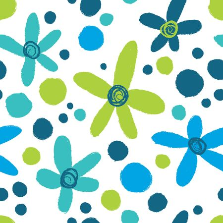 Summer abstract floral dark pattern in blue tones.