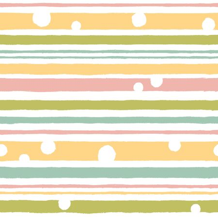 A simple pattern with horizontal stripes and polka dots in pastel colors.