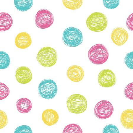 Simple seamless pattern with polka dots in bright colors. 向量圖像
