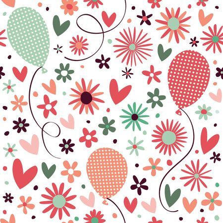 Seamless pattern with small hearts, flowers and balloons.
