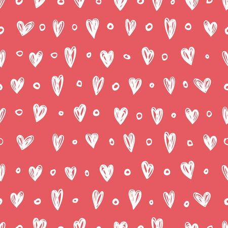 Seamless pattern with little hearts on a red background.