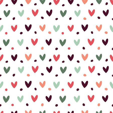 Simple seamless pattern with small hearts.