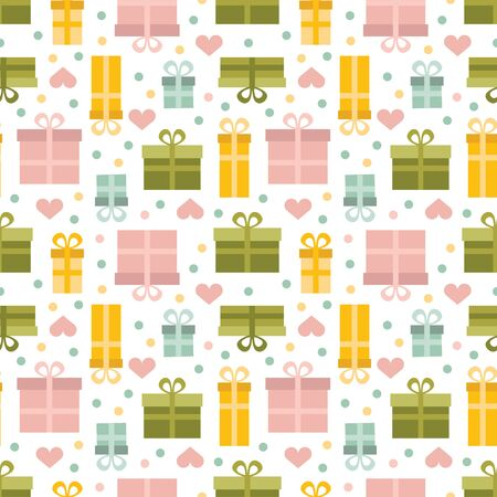 Simple seamless pattern with gift boxes in pastel colors.