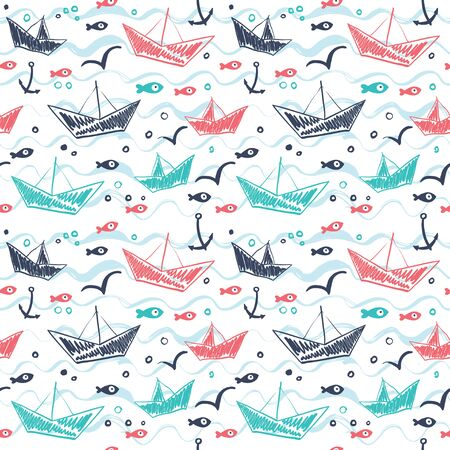 Seamless pattern in the concept of childrens drawings. Seamless pattern with ships, fish, sun, clouds, sea and waves.Seamless pattern in the concept of childrens drawings. Seamless pattern with ship