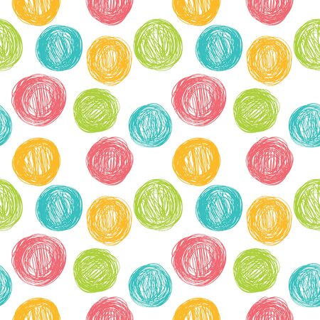 Simple seamless background in polka dots. Vector pattern in pastel colors.