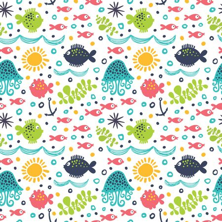 A seamless pattern with cute fishes, corals, seashells and seaweed.