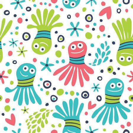 Vector illustration seamless pattern with octopus cartoon. Иллюстрация