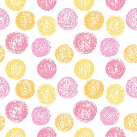 Seamless pattern in polka dots in pink and yellow tones. 向量圖像