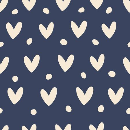 Seamless pattern with hearts on a blue background.