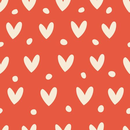 Seamless pattern with hearts on a red background.