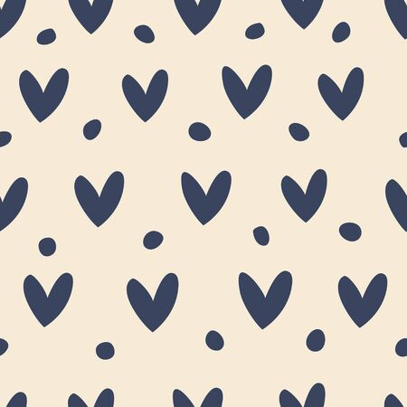 Seamless pattern with blue hearts on a beige background. 向量圖像