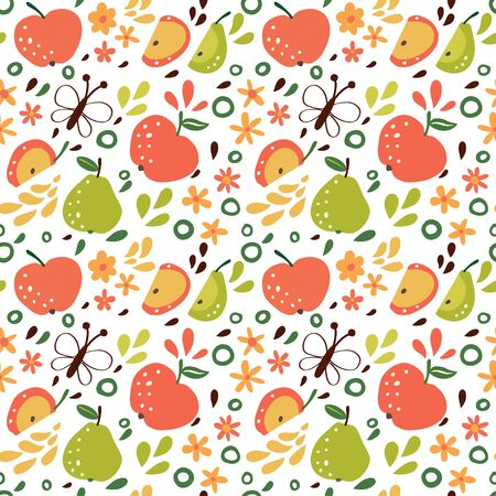 Seamless pattern with apples and pears.