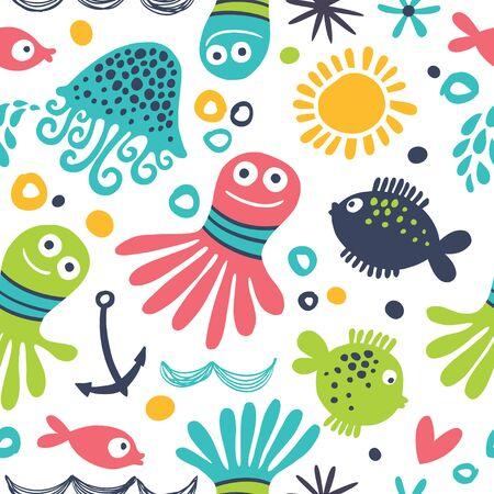 Vector illustration seamless pattern with octopus cartoon. 向量圖像
