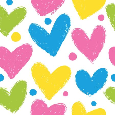 Seamless pattern with hand drawn heart on a dark background. Hearts painted dry brush. 向量圖像