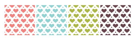 A set of simple patterns with hearts in pink, green and brown tones. 向量圖像