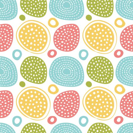 Simple seamless pattern in polka dots and hearts in pastel colors.