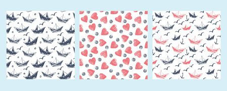 A set of three patterns with ships and hearts. Painted in a childlike style.