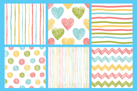 Set of six seamless patterns with hand drawn abstract elements Çizim