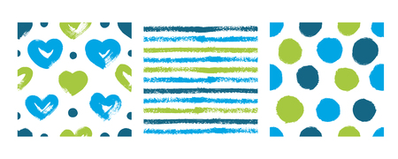 Set with hearts, stripes and polka dots in blue and green colors. Vector backgrounds hand drawn.