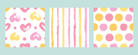 Set with hearts, stripes and polka dots in pink and yellow. Vector backgrounds hand drawn.