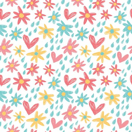 Repeating hearts Cute floral seamless pattern. Endless girlish print. Girly vector illustration.