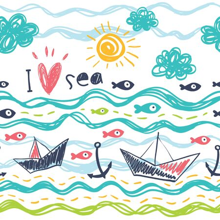 Background with a ship, sea, fish and sun. Seamless pattern in the concept of children's drawings.