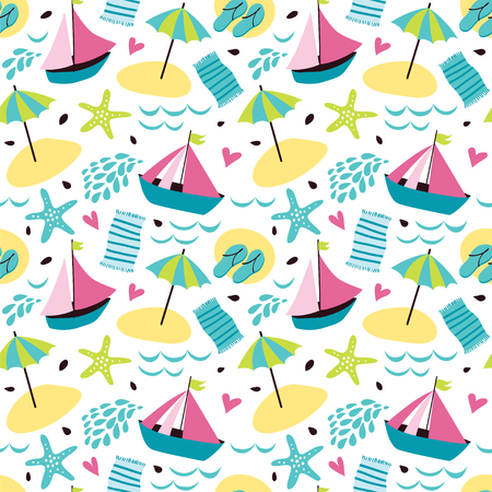Summer background with umbrellas, ships, beach, flip-flops, cocktail, towel and hearts.