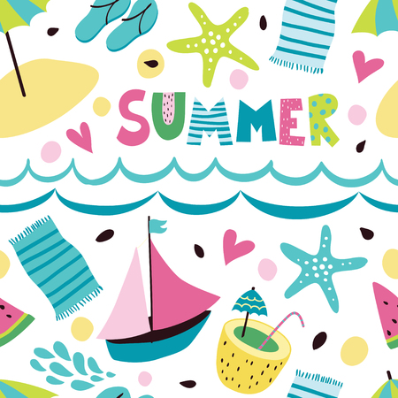 Seamless pattern with the inscription summer. Summer background with umbrellas, ships, beach, flip-flops, cocktail, towel and hearts. Çizim