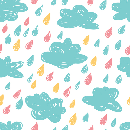 Seamless pattern in the concept of childrens drawings. Vector background with clouds and rain drops. Çizim
