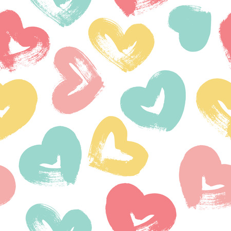 Seamless pattern with hand drawn heart. Hearts painted dry brush. Ink illustration. Ornament for wrapping paper. Çizim