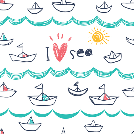 Seamless pattern in the concept of childrens drawings. Seamless pattern with ships, fish, sun, clouds, sea and waves. Çizim