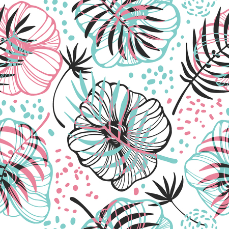 Seamless background with leaves, flowers and berries in pastel colors.