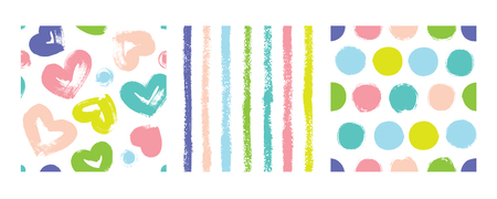A set of striped colors with hearts