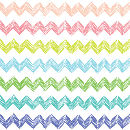 Seamless abstract pattern with zigzag in pastel colors. Çizim