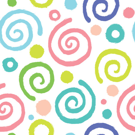 Seamless pattern with spirals in pastel colors.