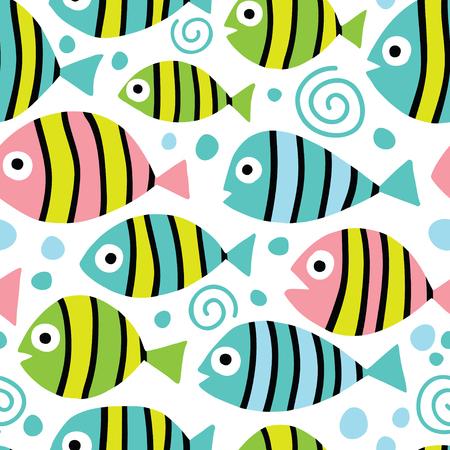 Seamless background with exotic fish. Çizim